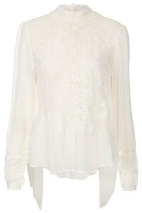 Premium Lace High Neck Blouse - neckline: high neck; bust detail: added detail/embellishment at bust; style: blouse; predominant colour: white; occasions: casual, evening, work; length: standard; fibres: polyester/polyamide - 100%; fit: loose; back detail: longer hem at back than at front; sleeve length: long sleeve; sleeve style: standard; texture group: lace; pattern type: fabric; pattern size: standard; pattern: patterned/print; embellishment: embroidered; season: s/s 2013