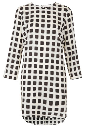 Grid Print Tunic Dress - style: tunic; neckline: round neck; pattern: checked/gingham; predominant colour: white; occasions: casual, evening; length: just above the knee; fit: straight cut; fibres: polyester/polyamide - 100%; back detail: longer hem at back than at front; sleeve length: long sleeve; sleeve style: standard; texture group: sheer fabrics/chiffon/organza etc.; pattern type: fabric; pattern size: standard; season: s/s 2013