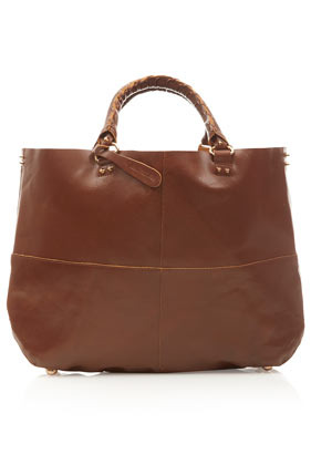 Clean Leather Tote - predominant colour: tan; occasions: casual, work; style: tote; length: handle; size: oversized; material: leather; pattern: plain; finish: plain; season: s/s 2013