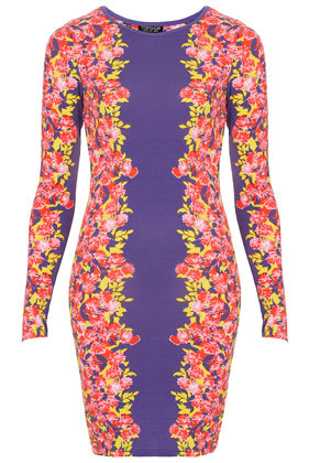 Border Floral Bodycon Dress - length: mid thigh; neckline: round neck; fit: tight; style: bodycon; waist detail: fitted waist; shoulder detail: contrast pattern/fabric at shoulder; occasions: casual, evening; fibres: polyester/polyamide - stretch; bust detail: contrast pattern/fabric/detail at bust; predominant colour: multicoloured; sleeve length: long sleeve; sleeve style: standard; pattern type: fabric; pattern size: standard; pattern: florals; texture group: jersey - stretchy/drapey; season: s/s 2013; multicoloured: multicoloured