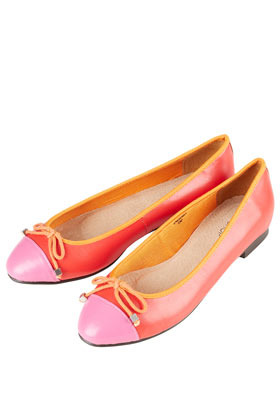 Milano Toecap Ballerina Flats - predominant colour: coral; occasions: casual, work, holiday; material: leather; heel height: flat; toe: round toe; style: ballerinas / pumps; trends: fluorescent; finish: plain; pattern: colourblock; embellishment: bow; season: s/s 2013