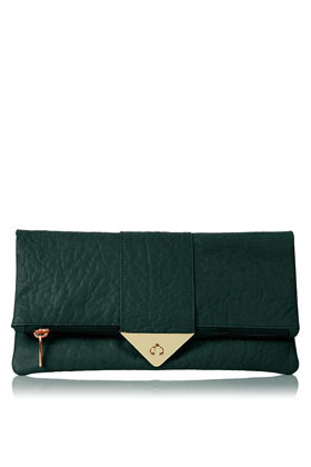 Tri Lock Merino Clutch - predominant colour: dark green; occasions: casual, evening, occasion; type of pattern: light; style: clutch; length: hand carry; size: standard; material: leather; embellishment: zips, chain/metal; pattern: plain; finish: plain; season: s/s 2013