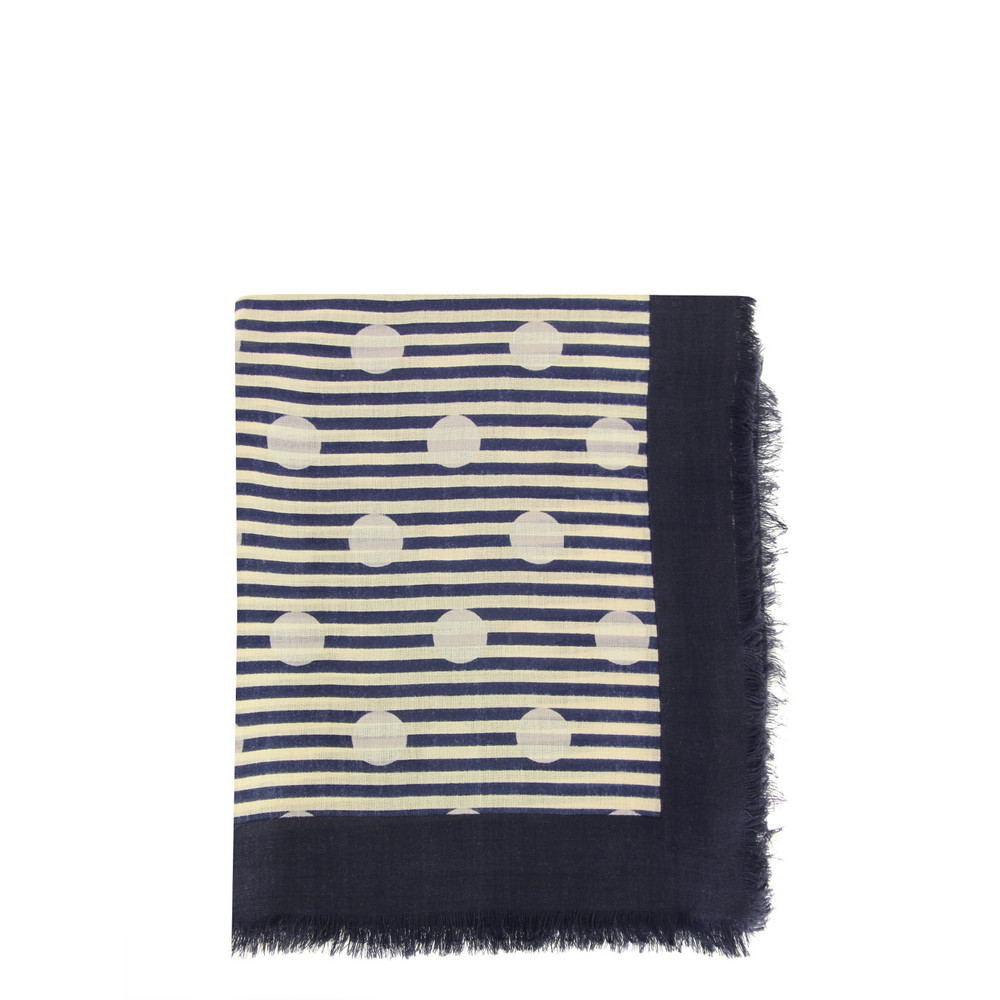 863 Willa Dot Bright Navy Scarf - secondary colour: ivory/cream; predominant colour: navy; occasions: casual; type of pattern: standard; style: square; size: standard; material: fabric; pattern: patterned/print; season: s/s 2013