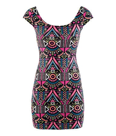 Dress - length: mid thigh; sleeve style: capped; style: bodycon; waist detail: fitted waist; back detail: back revealing; hip detail: draws attention to hips; predominant colour: pink; occasions: casual, evening; fit: body skimming; neckline: scoop; fibres: cotton - stretch; sleeve length: short sleeve; texture group: jersey - clingy; trends: statement prints, modern geometrics; pattern type: fabric; pattern size: big & busy; pattern: patterned/print; season: s/s 2013