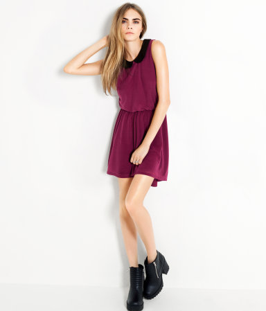 Dress - style: shift; length: mid thigh; pattern: plain; sleeve style: sleeveless; waist detail: elasticated waist, fitted waist, flattering waist detail; back detail: back revealing, keyhole/peephole detail at back, longer hem at back than at front; predominant colour: magenta; occasions: casual, evening; fit: body skimming; fibres: polyester/polyamide - 100%; neckline: no opening/shirt collar/peter pan; hip detail: ruching/gathering at hip, subtle/flattering hip detail; bust detail: contrast pattern/fabric/detail at bust; sleeve length: sleeveless; pattern type: fabric; pattern size: standard; texture group: jersey - stretchy/drapey; season: s/s 2013