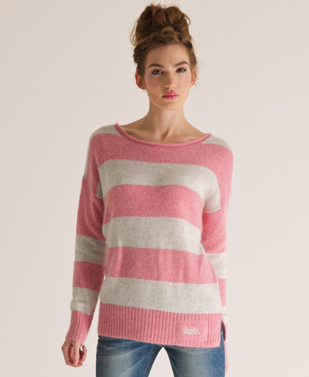 Salvador Crew Neck - neckline: round neck; pattern: horizontal stripes, striped; style: standard; predominant colour: pink; occasions: casual; length: standard; fibres: wool - mix; fit: standard fit; sleeve length: long sleeve; sleeve style: standard; texture group: knits/crochet; pattern type: knitted - other; pattern size: standard; season: s/s 2013