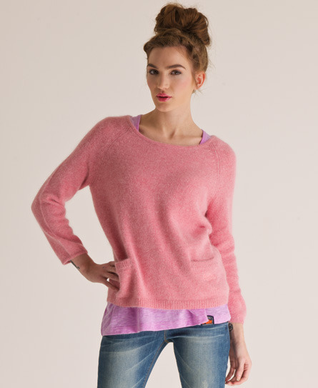 Brittany Crew Neck - neckline: round neck; pattern: plain; style: standard; hip detail: draws attention to hips; predominant colour: pink; occasions: casual, work; length: standard; fibres: wool - mix; fit: standard fit; waist detail: front pockets at waist level; sleeve length: long sleeve; sleeve style: standard; texture group: knits/crochet; pattern type: knitted - other; season: s/s 2013; wardrobe: highlight