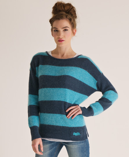 Salvador Crew Neck - neckline: round neck; sleeve style: dolman/batwing; pattern: horizontal stripes; style: standard; predominant colour: navy; occasions: casual; length: standard; fibres: wool - mix; fit: loose; sleeve length: long sleeve; texture group: knits/crochet; pattern type: knitted - other; pattern size: standard; season: s/s 2013