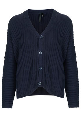 Chunky Knit Rib Cardigan Boutique - neckline: v-neck; sleeve style: dolman/batwing; bust detail: buttons at bust (in middle at breastbone)/zip detail at bust; predominant colour: navy; occasions: casual, work; length: standard; style: standard; fibres: cotton - 100%; fit: loose; sleeve length: long sleeve; texture group: knits/crochet; pattern type: knitted - other; pattern size: standard; season: s/s 2013