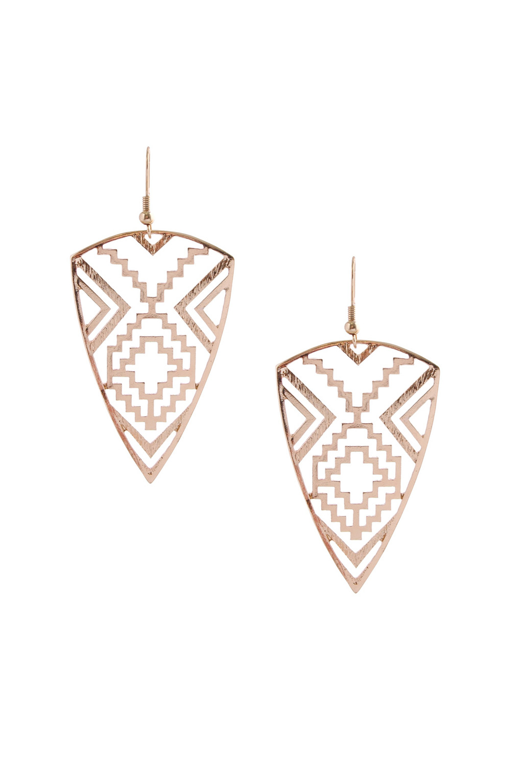 Tribal Cutwork Earrings - predominant colour: gold; occasions: casual, evening, holiday; style: drop; length: long; size: large/oversized; material: chain/metal; fastening: pierced; finish: metallic; season: s/s 2013