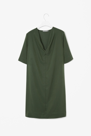 Draped Neck Dress - style: shift; neckline: v-neck; pattern: plain; predominant colour: dark green; occasions: casual, evening; length: just above the knee; fit: straight cut; fibres: polyester/polyamide - 100%; sleeve length: short sleeve; sleeve style: standard; texture group: crepes; pattern type: fabric; season: s/s 2013