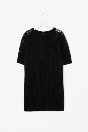 Open Knit Dress - style: jumper dress; length: mid thigh; neckline: round neck; fit: loose; predominant colour: black; occasions: casual, evening; fibres: linen - mix; sleeve length: half sleeve; sleeve style: standard; texture group: knits/crochet; pattern type: knitted - big stitch; pattern size: standard; season: s/s 2013