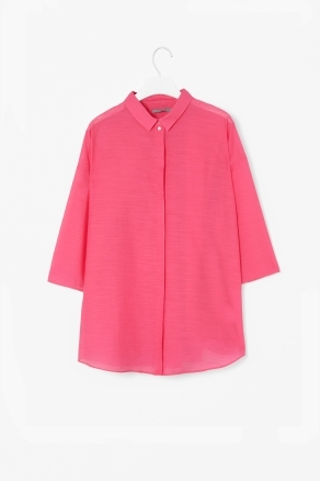 Sheer Textured Shirt - neckline: shirt collar/peter pan/zip with opening; pattern: plain; length: below the bottom; style: shirt; bust detail: buttons at bust (in middle at breastbone)/zip detail at bust; predominant colour: hot pink; occasions: casual, work; fibres: cotton - mix; fit: straight cut; sleeve length: 3/4 length; sleeve style: standard; pattern type: fabric; pattern size: standard; texture group: other - light to midweight; season: s/s 2013