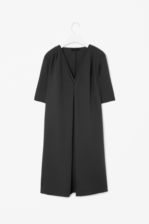 Layered V Neck Dress - style: tunic; neckline: low v-neck; pattern: plain; bust detail: ruching/gathering/draping/layers/pintuck pleats at bust; predominant colour: black; occasions: evening, creative work; length: just above the knee; fit: soft a-line; fibres: polyester/polyamide - 100%; hip detail: structured pleats at hip; shoulder detail: flat/draping pleats/ruching/gathering at shoulder; sleeve length: half sleeve; sleeve style: standard; texture group: crepes; pattern type: fabric; season: s/s 2013