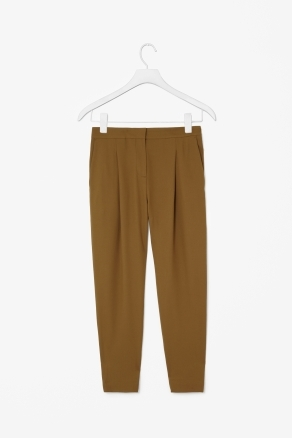 Pleated Trousers - length: standard; pattern: plain; pocket detail: small back pockets, pockets at the sides; style: peg leg; waist: mid/regular rise; predominant colour: mustard; occasions: casual, evening, work; fibres: polyester/polyamide - mix; hip detail: front pleats at hip level; waist detail: narrow waistband; texture group: crepes; fit: tapered; pattern type: fabric; season: s/s 2013; pattern size: standard (bottom)