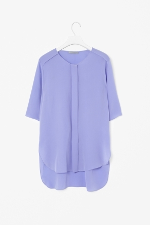 Curved Hem Silk Shirt - neckline: round neck; pattern: plain; style: shirt; bust detail: ruching/gathering/draping/layers/pintuck pleats at bust, tiers/frills/bulky drapes/pleats; predominant colour: lilac; occasions: casual, evening, work; length: standard; fibres: silk - 100%; fit: loose; back detail: longer hem at back than at front; sleeve length: half sleeve; sleeve style: standard; texture group: silky - light; pattern type: fabric; pattern size: standard; season: s/s 2013