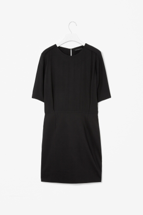 Pleated Waist Dress - style: shift; neckline: round neck; fit: fitted at waist; pattern: plain; waist detail: fitted waist, drop waist; bust detail: subtle bust detail, bulky details at bust; predominant colour: black; occasions: casual, evening, work; length: just above the knee; fibres: cotton - mix; hip detail: subtle/flattering hip detail; shoulder detail: discreet epaulette, subtle shoulder detail; back detail: keyhole/peephole detail at back; sleeve length: short sleeve; sleeve style: standard; texture group: silky - light; trends: glamorous day shifts; pattern type: fabric; pattern size: standard; season: s/s 2013
