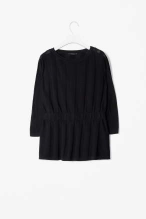 Panelled Knit Top - neckline: round neck; predominant colour: black; occasions: casual, evening, work; length: standard; style: top; fibres: cotton - 100%; fit: body skimming; sleeve length: 3/4 length; sleeve style: standard; texture group: knits/crochet; pattern type: knitted - other; pattern size: standard; season: s/s 2013