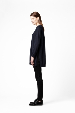 Split Side Wool Tunic - neckline: round neck; length: below the bottom; style: tunic; shoulder detail: contrast pattern/fabric at shoulder; predominant colour: navy; occasions: casual; fibres: wool - 100%; fit: loose; hip detail: slits at hip; sleeve length: long sleeve; sleeve style: standard; texture group: knits/crochet; trends: volume; pattern type: knitted - fine stitch; pattern size: standard; season: s/s 2013