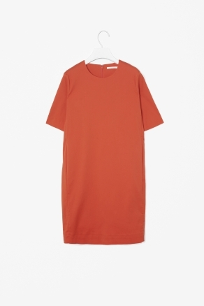 Straight Shift Dress - style: shift; neckline: round neck; pattern: plain; predominant colour: terracotta; occasions: casual, evening; length: just above the knee; fit: straight cut; fibres: cotton - mix; sleeve length: short sleeve; sleeve style: standard; pattern type: fabric; texture group: other - light to midweight; season: s/s 2013