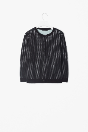Double Layer Cardigan - neckline: round neck; predominant colour: navy; occasions: casual, work; length: standard; style: standard; fibres: cotton - 100%; fit: standard fit; sleeve length: long sleeve; sleeve style: standard; texture group: knits/crochet; pattern type: knitted - other; pattern size: standard; pattern: patterned/print; season: s/s 2013