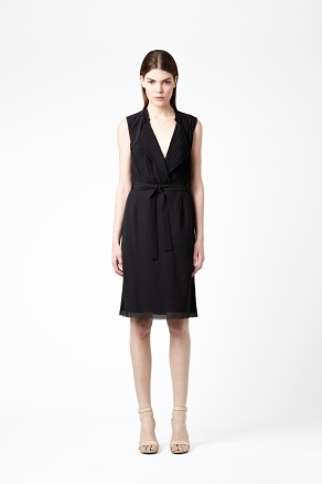 Dress With Pleated Top - style: shift; neckline: v-neck; pattern: plain; sleeve style: sleeveless; waist detail: belted waist/tie at waist/drawstring; bust detail: subtle bust detail; predominant colour: black; occasions: casual, evening, work; length: just above the knee; fit: straight cut; fibres: polyester/polyamide - 100%; hip detail: subtle/flattering hip detail; shoulder detail: subtle shoulder detail; sleeve length: sleeveless; texture group: sheer fabrics/chiffon/organza etc.; pattern type: fabric; season: s/s 2013; wardrobe: highlight