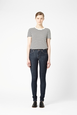 Mid Blue Skinny Jeans - style: skinny leg; length: standard; pattern: plain; pocket detail: traditional 5 pocket; waist: mid/regular rise; predominant colour: navy; occasions: casual; fibres: cotton - mix; jeans detail: dark wash; texture group: denim; pattern type: fabric; season: s/s 2013; pattern size: standard (bottom)