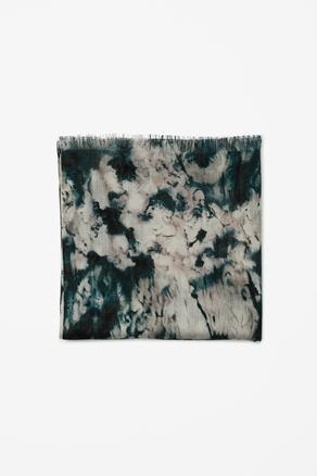 Wool And Silk Print Scarf - predominant colour: dark green; occasions: casual, work; type of pattern: standard; style: regular; size: standard; material: silk; embellishment: fringing; pattern: patterned/print; season: s/s 2013