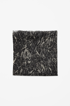 Silk And Wool Print Scarf - predominant colour: black; occasions: casual, work; type of pattern: standard; style: regular; size: standard; material: silk; embellishment: fringing; pattern: patterned/print; season: s/s 2013