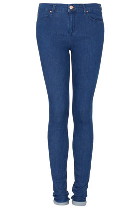 Tall Moto Leigh Skinny Jeans - style: skinny leg; length: standard; pattern: plain; pocket detail: traditional 5 pocket; waist: mid/regular rise; predominant colour: royal blue; occasions: casual; fibres: cotton - mix; jeans detail: dark wash; jeans & bottoms detail: turn ups; texture group: denim; pattern type: fabric; season: s/s 2013