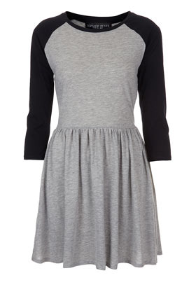 Petite Raglan Skater Dress - length: mid thigh; neckline: round neck; sleeve style: raglan; waist detail: fitted waist; shoulder detail: contrast pattern/fabric at shoulder; predominant colour: light grey; occasions: casual; fit: fitted at waist & bust; style: fit & flare; fibres: cotton - mix; bust detail: contrast pattern/fabric/detail at bust; sleeve length: 3/4 length; pattern type: fabric; pattern size: standard; pattern: colourblock; texture group: jersey - stretchy/drapey; season: s/s 2013