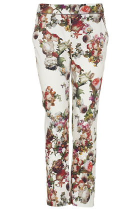 Winter Floral Cigarette Trousers - length: standard; pocket detail: small back pockets, pockets at the sides; waist: mid/regular rise; predominant colour: ivory/cream; occasions: casual, evening, work; fibres: cotton - stretch; hip detail: fitted at hip (bottoms); waist detail: feature waist detail; trends: high impact florals; fit: tapered; pattern type: fabric; pattern: florals, patterned/print; texture group: other - stretchy; style: standard; season: s/s 2013; pattern size: big & busy (bottom)