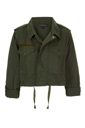 Petite Cropped Army Jacket - pattern: plain; style: cropped; shoulder detail: obvious epaulette; predominant colour: khaki; occasions: casual; fit: straight cut (boxy); fibres: cotton - 100%; collar: shirt collar/peter pan/zip with opening; sleeve length: 3/4 length; sleeve style: standard; texture group: cotton feel fabrics; collar break: high; pattern type: fabric; season: s/s 2013; length: cropped; wardrobe: basic