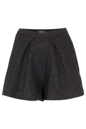 Jaquard Pleat Front Shorts - pattern: plain; waist: high rise; predominant colour: black; occasions: casual, evening, work; fibres: cotton - mix; pattern type: fabric; texture group: brocade/jacquard; embellishment: embroidered; season: s/s 2013; pattern size: standard (bottom); style: shorts; length: short shorts; fit: a-line; wardrobe: highlight; embellishment location: all over