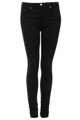 Tall Moto Leigh Skinny Jean - style: skinny leg; length: standard; pattern: plain; pocket detail: traditional 5 pocket; waist: mid/regular rise; predominant colour: black; occasions: casual, evening; fibres: cotton - mix; jeans detail: dark wash; texture group: denim; pattern type: fabric; season: s/s 2013