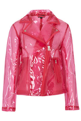 Pink Clear Plastic Jacket - pattern: plain; style: biker; bust detail: added detail/embellishment at bust; collar: asymmetric biker; hip detail: flared at hip, front pockets at hip, side pockets at hip; predominant colour: hot pink; occasions: casual; length: standard; fit: straight cut (boxy); fibres: polyester/polyamide - 100%; sleeve length: long sleeve; sleeve style: standard; texture group: rubber/latex; trends: fluorescent; collar break: medium; pattern type: fabric; pattern size: standard; season: s/s 2013