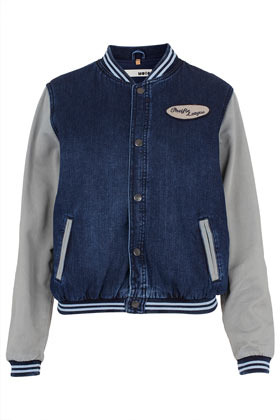 Moto Denim Varsity Bomber Jacket - pattern: plain; collar: high neck; style: bomber; predominant colour: denim; occasions: casual; length: standard; fit: straight cut (boxy); fibres: cotton - 100%; sleeve length: long sleeve; sleeve style: standard; texture group: denim; collar break: high/illusion of break when open; pattern type: fabric; pattern size: standard; embellishment: embroidered; season: s/s 2013