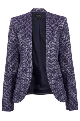 Jacquard Collarless Blazer - style: single breasted blazer; collar: standard lapel/rever collar; predominant colour: navy; occasions: casual, evening, work, occasion; length: standard; fit: tailored/fitted; fibres: cotton - mix; sleeve length: long sleeve; sleeve style: standard; collar break: low/open; pattern type: fabric; pattern size: light/subtle; pattern: patterned/print; texture group: brocade/jacquard; season: s/s 2013