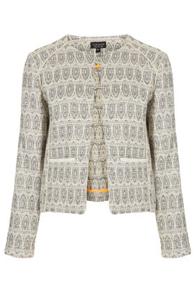 Aztec Boucle Jacket - collar: round collar/collarless; style: boxy; predominant colour: stone; occasions: casual, evening, work, occasion; length: standard; fit: straight cut (boxy); fibres: cotton - mix; sleeve length: long sleeve; sleeve style: standard; texture group: ornate wovens; collar break: medium; pattern type: fabric; pattern size: standard; pattern: patterned/print; season: s/s 2013