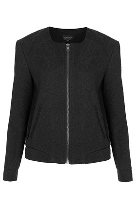Butterfly Jacquard Bomber Jacket - pattern: plain; collar: round collar/collarless; style: bomber; predominant colour: black; occasions: casual, evening, work; length: standard; fit: straight cut (boxy); fibres: polyester/polyamide - mix; sleeve length: long sleeve; sleeve style: standard; texture group: cotton feel fabrics; collar break: high; pattern type: fabric; pattern size: light/subtle; embellishment: embroidered; season: s/s 2013