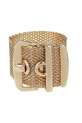 Mesh Buckle Bracelet - predominant colour: gold; occasions: casual, evening, work, occasion; style: cuff; size: large/oversized; material: chain/metal; trends: metallics; finish: metallic; embellishment: chain/metal; season: s/s 2013