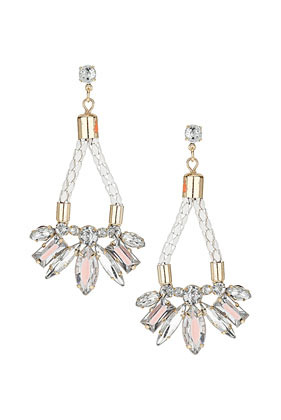 Fabric Jewel Drop Earring - predominant colour: ivory/cream; occasions: evening, occasion; style: chandelier; length: long; size: large/oversized; material: chain/metal; fastening: pierced; finish: plain; embellishment: beading; season: s/s 2013