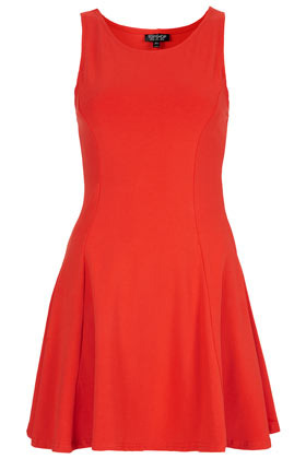 Clean Seam Flippy Tunic - length: mid thigh; neckline: round neck; pattern: plain; sleeve style: sleeveless; waist detail: fitted waist; predominant colour: bright orange; occasions: casual, evening, occasion, holiday; fit: fitted at waist & bust; style: fit & flare; fibres: cotton - stretch; hip detail: ruching/gathering at hip, adds bulk at the hips, subtle/flattering hip detail; sleeve length: sleeveless; pattern type: fabric; pattern size: standard; texture group: jersey - stretchy/drapey; season: s/s 2013