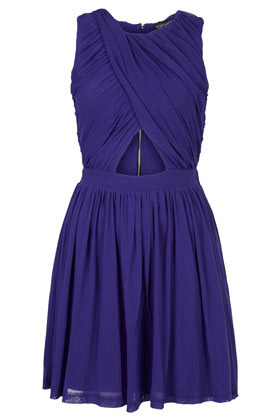Wrap Mesh Ruche Skater Dress - neckline: round neck; pattern: plain; sleeve style: sleeveless; bust detail: subtle bust detail; predominant colour: royal blue; occasions: evening, occasion; length: just above the knee; fit: fitted at waist & bust; style: fit & flare; fibres: polyester/polyamide - 100%; sleeve length: sleeveless; texture group: sheer fabrics/chiffon/organza etc.; pattern type: fabric; season: s/s 2013