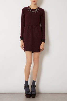 Boucle Sweater Dress - style: shift; length: mid thigh; fit: fitted at waist; pattern: plain; predominant colour: burgundy; occasions: casual, evening; fibres: polyester/polyamide - mix; neckline: crew; sleeve length: long sleeve; sleeve style: standard; texture group: knits/crochet; pattern type: knitted - fine stitch; season: s/s 2013