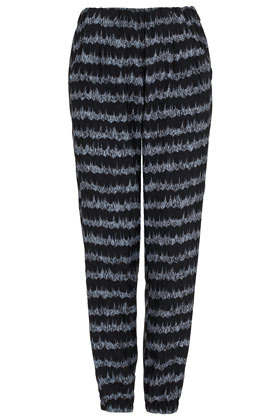 Tall Wave Print Joggers - length: standard; style: tracksuit pants; waist detail: elasticated waist, narrow waistband; waist: mid/regular rise; predominant colour: black; occasions: casual, evening, work; fibres: polyester/polyamide - 100%; hip detail: front pleats at hip level; trends: striking stripes, statement prints, modern geometrics; fit: baggy; pattern type: fabric; texture group: other - light to midweight; season: s/s 2013; pattern size: standard (bottom); pattern: horizontal stripes (bottom)