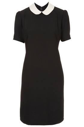 Tall Contrast Collar Dress - style: shift; sleeve style: puffed; pattern: plain; waist detail: fitted waist; hip detail: fitted at hip; shoulder detail: contrast pattern/fabric at shoulder; predominant colour: black; occasions: casual, evening, work, occasion; length: just above the knee; fit: fitted at waist & bust; fibres: polyester/polyamide - stretch; neckline: no opening/shirt collar/peter pan; bust detail: contrast pattern/fabric/detail at bust; sleeve length: short sleeve; texture group: crepes; trends: glamorous day shifts; pattern type: fabric; pattern size: standard; season: s/s 2013