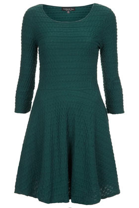 Tall Half Sleeve Ripple Tunic - length: mid thigh; neckline: round neck; pattern: plain, patterned/print; waist detail: fitted waist; predominant colour: dark green; occasions: casual, evening, work; fit: fitted at waist & bust; style: fit & flare; fibres: cotton - 100%; hip detail: subtle/flattering hip detail; sleeve length: 3/4 length; sleeve style: standard; pattern type: fabric; pattern size: light/subtle; texture group: jersey - stretchy/drapey; season: s/s 2013