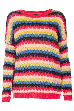 Tall Bobble Stripe Jumper - neckline: round neck; pattern: horizontal stripes, patterned/print; length: below the bottom; style: standard; hip detail: draws attention to hips, contrast fabric/print detail at hip; occasions: casual; fibres: cotton - mix; fit: loose; predominant colour: multicoloured; sleeve length: long sleeve; sleeve style: standard; texture group: knits/crochet; trends: striking stripes; pattern type: fabric; pattern size: standard; season: s/s 2013; multicoloured: multicoloured