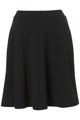 Tall Jersey Skater Skirt - pattern: plain; fit: loose/voluminous; waist detail: fitted waist, feature waist detail; hip detail: draws attention to hips, adds bulk at the hips, subtle/flattering hip detail, sculpting darts/pleats/seams at hip; waist: mid/regular rise; predominant colour: black; occasions: casual, evening, work, occasion; length: just above the knee; style: a-line; fibres: cotton - stretch; trends: volume; pattern type: fabric; texture group: jersey - stretchy/drapey; season: s/s 2013; pattern size: standard (bottom)